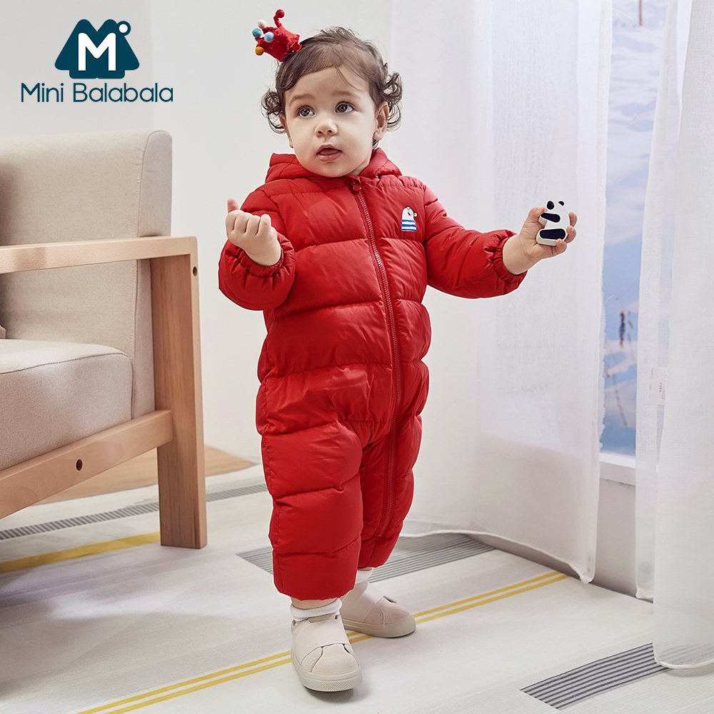Mini Balabala Baby Snowsuit Winter Down Baby Rompers Infant Boys Girls Printed One-piece Outfit Children Down Clothing Snow Wear