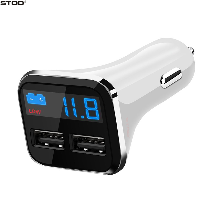 BTOD Dual USB Car Charger 2 Port 4.8A LED Display Battery Voltage Monitor For Iphone 5 5S 6 6S 7 Ipad Samsung Huawei Mi Adapter