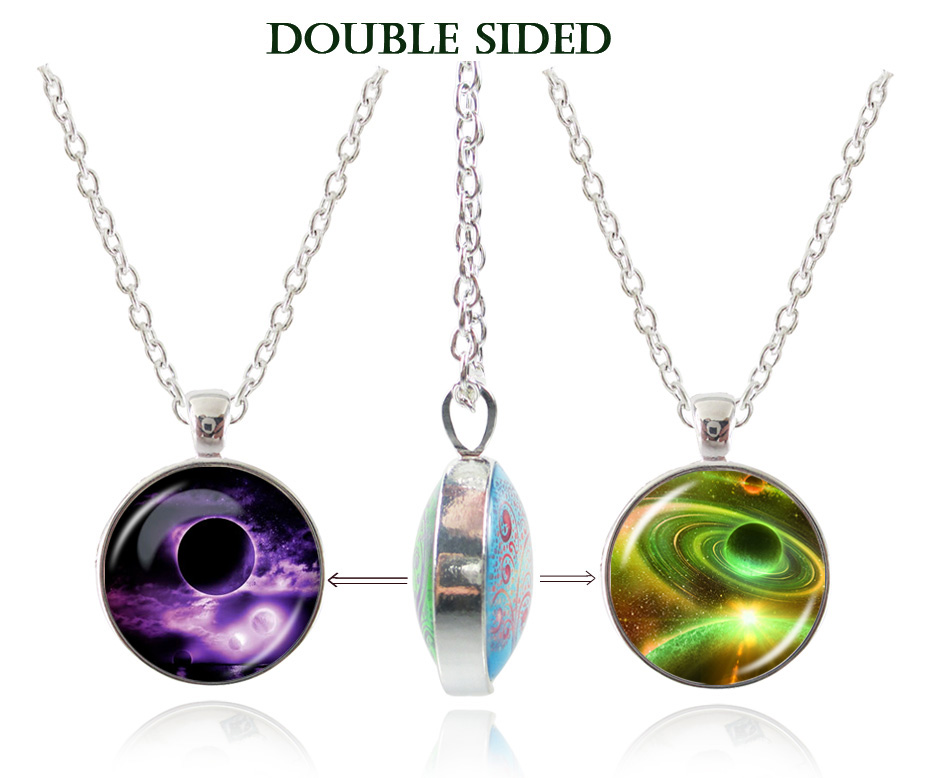 92e84d421b3d6 US $3.99 |New design nebula pendant star cluster jewelry double sided  galaxy choker fashion neckace for women men glass dome pendant-in Pendant  ...
