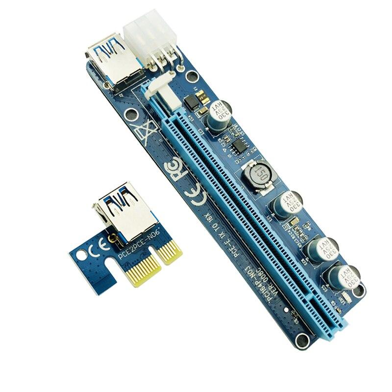 60 см PCI-E расширитель PCI Express Riser Card 1X к 16X 008C + USB 3,0 кабель PCI-E Sata 15 Pin к 6 Pin мощность для BTC Miner машины