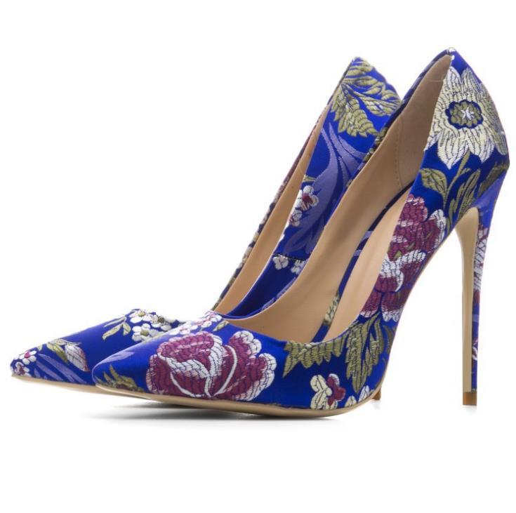 Exterior Tacón Negro Real Retro Comercio Mujeres Las Seda De Tamaño azul Color Alto plata Puntiagudo Gran Zapatos Nuevo Estilete 2018 oro Solos w4EqxTYw