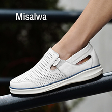 Misalwa Summer Genuine Leather 5CM Elevator Shoes Hollow Men Sneakers Moccasins Men Casual Natural Leather Loafers White Shoe