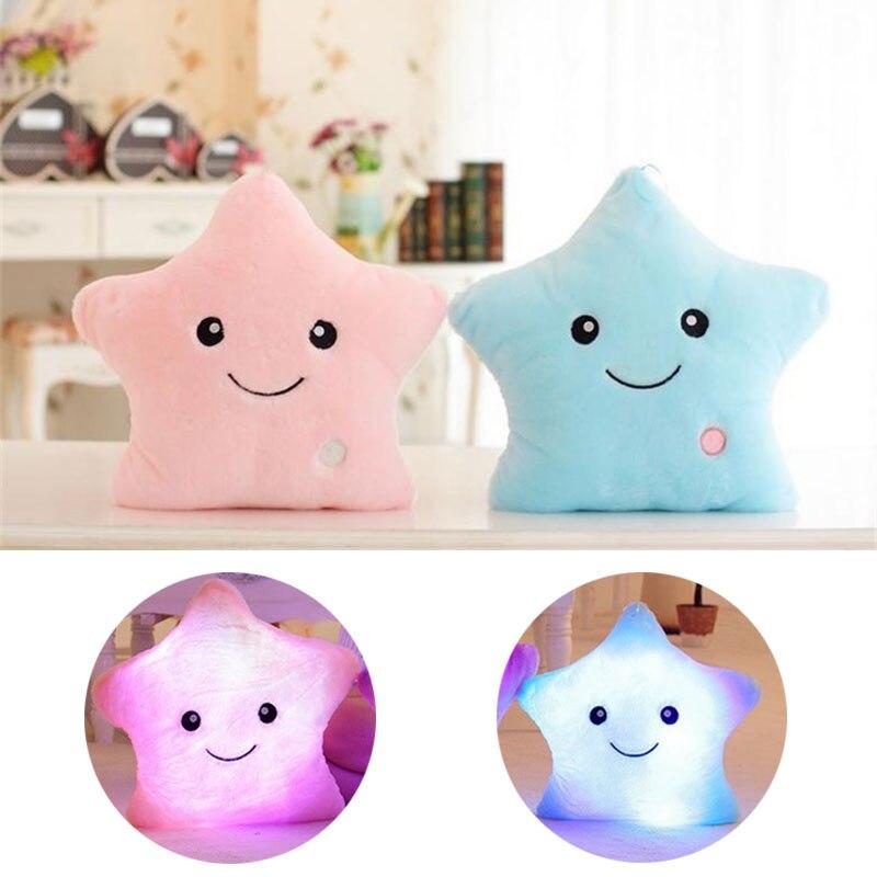 2020 Baby Pillows Cute Luminous Pillow Christmas Toys Led Light Plush Pillow Soft Newborn Infant Toddler Room Bedding Decoration