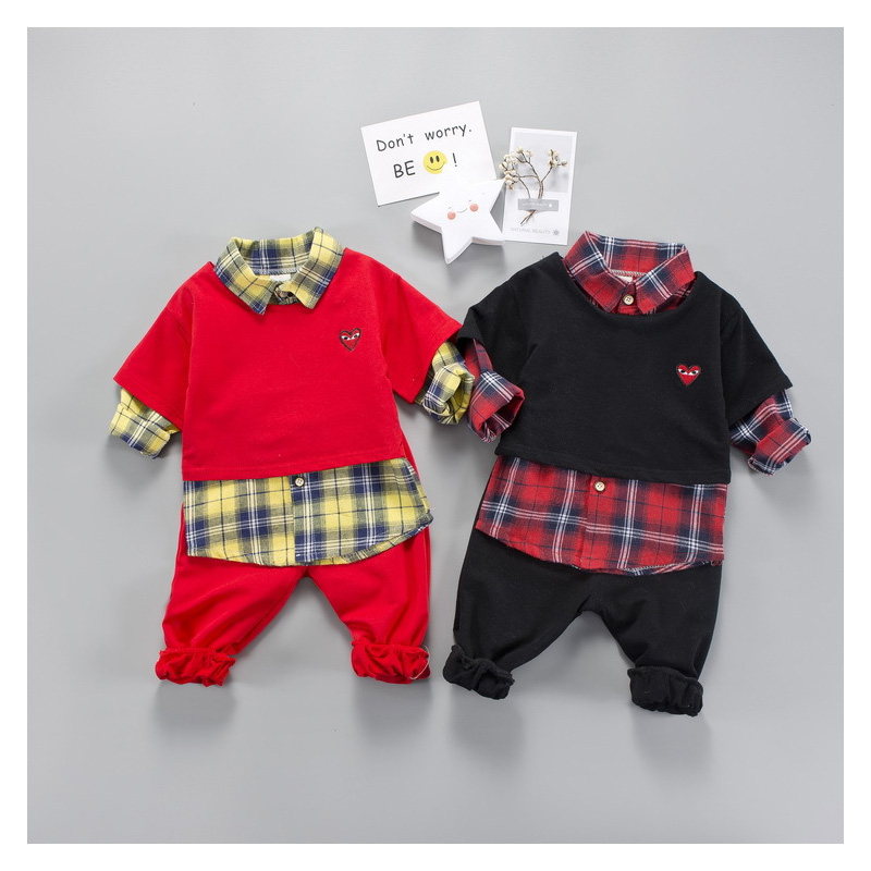 Pink Red Long Sleeve Cute Suit for Boy Girls Clothing Set 3pcs Spring 2018 Baby Toddler Little Kids Set 1 2 3 4 Years Old fashion boy s clothing set baby suit nice kids cotton long sleeve red shirt spaghetti strap jeans age for 2 3 4 5 6 years