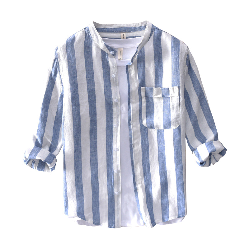 Summer Fashion Men Shirts Stand Collar Three Quarter Sleeve Casual Stripe Shirts Men Vintage Linen Shirt