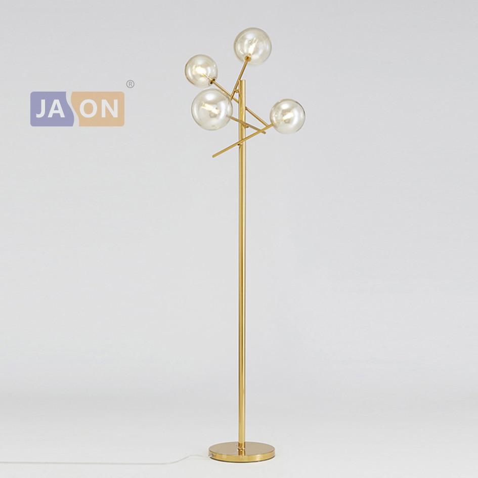 Led g4 Pós-moderna de Ferro Ouro Vidro Girado LEVOU Lâmpada LED luz Chão LEVOU Luz Lâmpada de Assoalho Para Foyer Sala de Jantar quarto