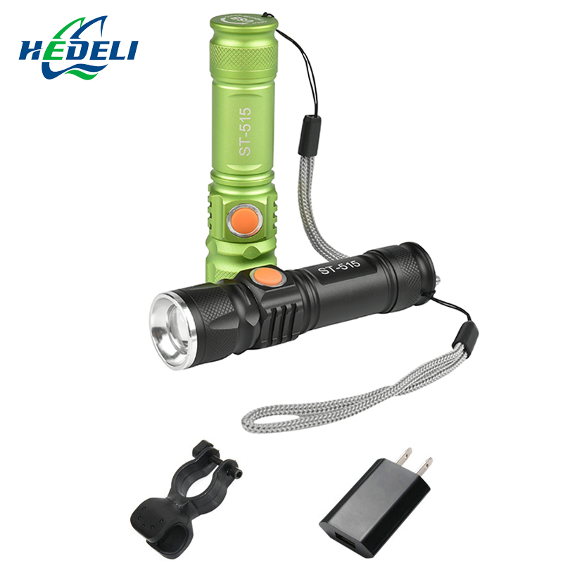 CREE XML T6 flashlight portable compact built-in battery USB charging waterproof 3000 lumen 18650 battery night cycling hiking.