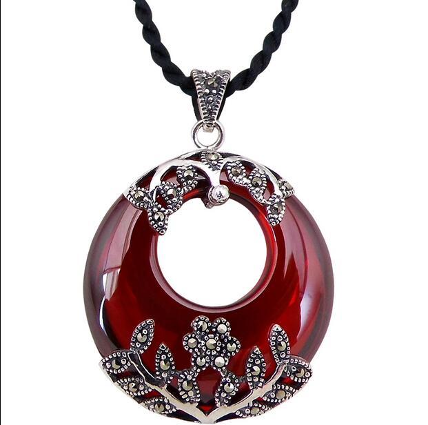 S925 argent rétro Thai argent Style National mode grenat pendentif nouveau bouton de paix collier pendentif