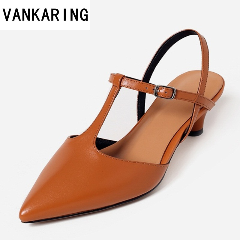 VANKARING 2018 classic summer shoes women sandals sexy high heel pointed toe shoes genuine leather dress party gladiator sandals fedonas sexy women sandals high heel buckles wedding party shoes woman genuine leather ladies shoes pointed toe summer slippers