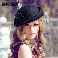 Elegant Female 100% Wool Flower Black Fedora Hat England Style Vintage Winter Women Felt French Beret Hats Bone Feminino