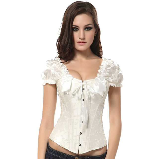 Women's Tops Sexy Satin Corset Brocade Floral Over Bustier Tops Lace Up Bodyshaper Shapewear Waist Trainer Corsets Cincher