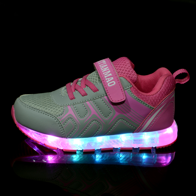 Led Children Shoes Sports Fashion 2018 USB Charging Shoes With Light Up Kids Casual Boys&Girls Luminous Sneakers Mesh surface