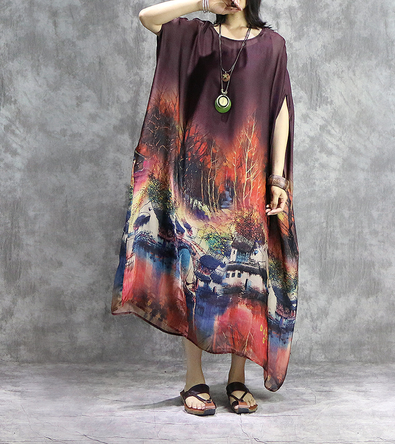 Vrouwen gedrukt Retro Plus Size Jurk Dames Vintage Robe Jurken Vrouwelijke Vintage Elegante Dunne Jurk 2019 Vleermuis Mouw Jurk-in Jurken van Dames Kleding op  Groep 2