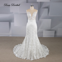 Rosabridal Mermaid wedding dress 2019 New Design O neck Sleeveless beading flower lace on nude tulle blackless Bridal Gown