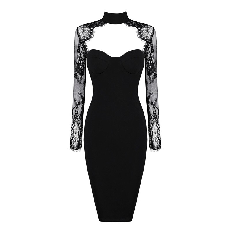2017 new style Black Lace Long Sleeve Sexy Women New Arrival Knee Length Autumn Winter Bodycon Bandage Dress