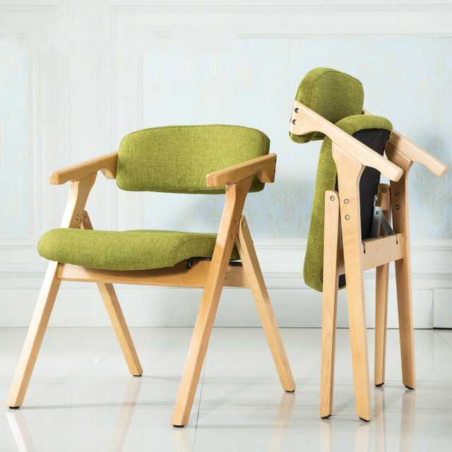 High Quality Portable Solid Wooden Leisure Chair Foldable Dinning Chair  Colorful Movable Washable Cushion Backrest Cadeira