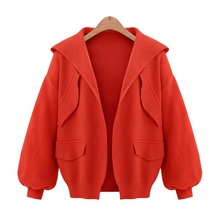 Plus Size M-5XL Autumn Coat Women New Fashion Casual Solid Open Stitch Coat Turn-down Collar Long Sleeve Hooded Jacket 2462
