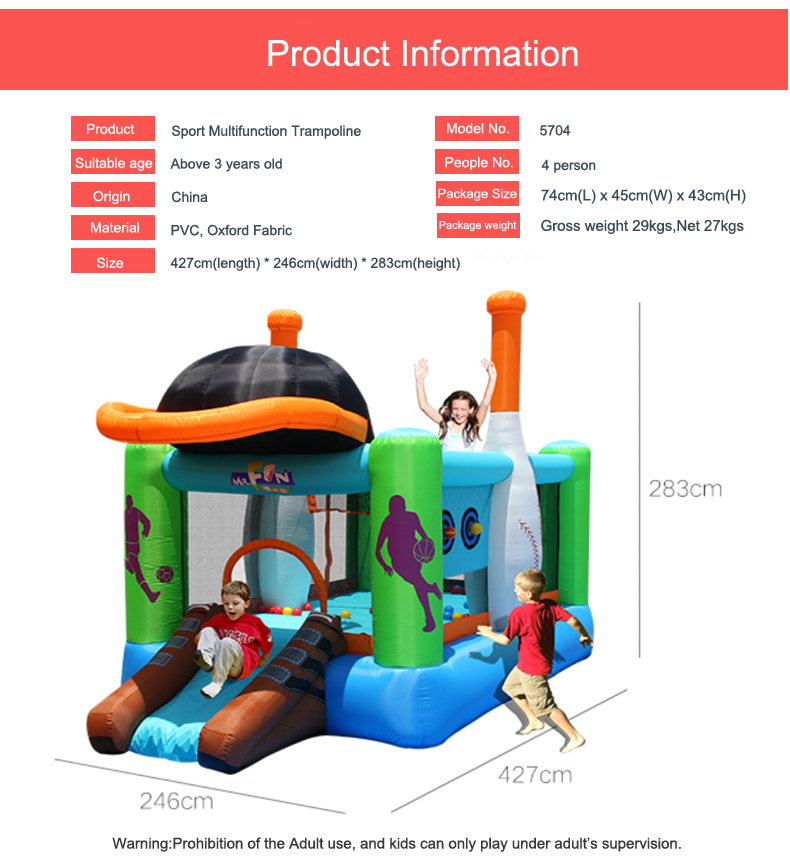 HTB1nIlRSXXXXXbsXFXXq6xXFXXXQ - Mr. Fun Kids Inflatable Sports Bounce House Trampoline with Blower