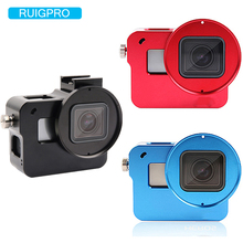 CNC Aluminum Alloy Protective Case Cage Mount for GoPro Hero 7 6 5  With 52mm UV Lens Backdoor for Go Pro Hero 7 Accessory shoot aluminum alloy protective frame case for gopro hero 4 silver black camera with go pro uv filter lens cap housing accessory