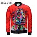 Men Jackets 2016 Space Cotton 2PAC 3D Cardigan Sweatshirt Red Hiphop Baseball Autumn Winter Jackets Punk Casual Male Jacket Coat