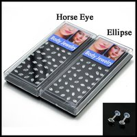 Fashion Bioplast Flexible Ear Tragus Cartilage Piercing Horse Eye Ellipse Zircon Lip Labret Bar Ring Sexy