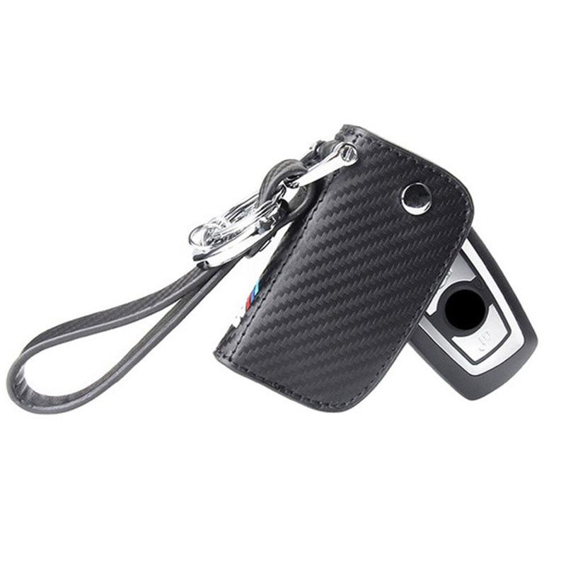 Genuine Leather Carbon Fiber Car Key Case For BMW E90 E39 F10 F30 E30 E60 E46 E81 E82 E87 E92 M5 M6 X1 X5 X6 X3 E36 Key Cover