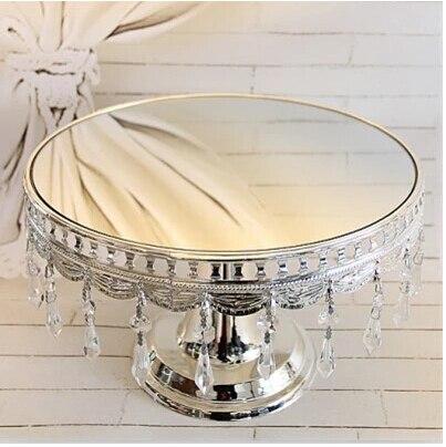 Бесплатная доставка серебристая металлическая зеркальная подставка для торта Форма для десертов торт лоток поддоны для торта десертная пл