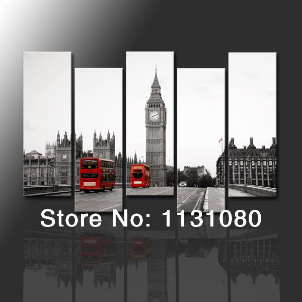 NO FRAME CANVAS ONLY 5 piece Large canvas painting UK London red bus ...