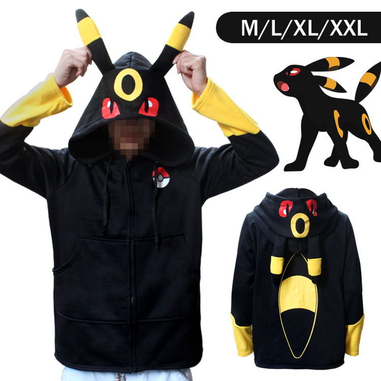Pokemon Go Umbreon Winter Warm Coat Sweater Hoodie Thermal Cosplay Cute With Ears For Lovers Couple Boys Girls Xmas Gift
