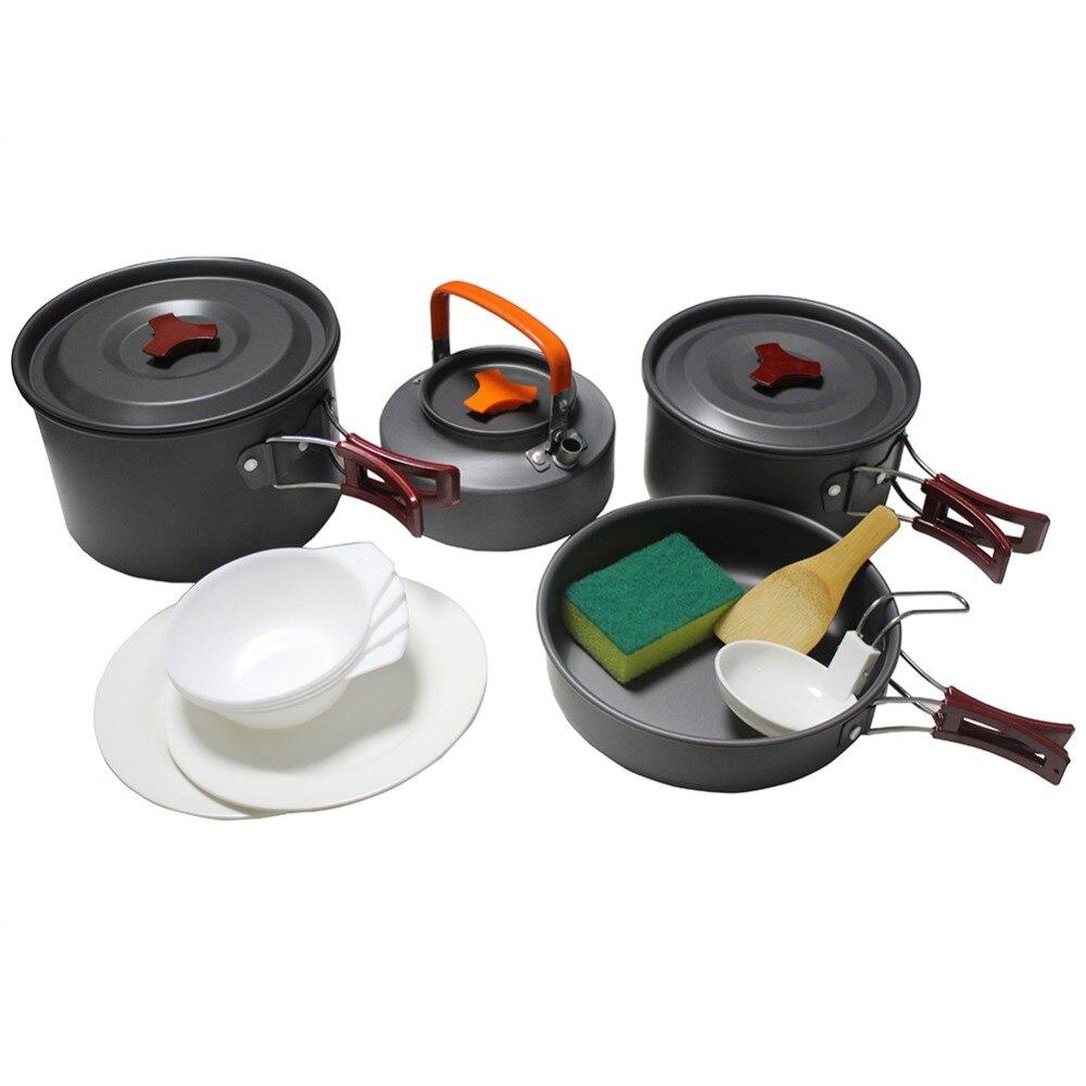 Portable 4-5 Personnes Camping En Plein Air Vaisselle ensemble de cuisine Camping Ustensiles de Cuisine vaisselle de voyage Pots Pan bouilloire à café ensemble de pique-nique