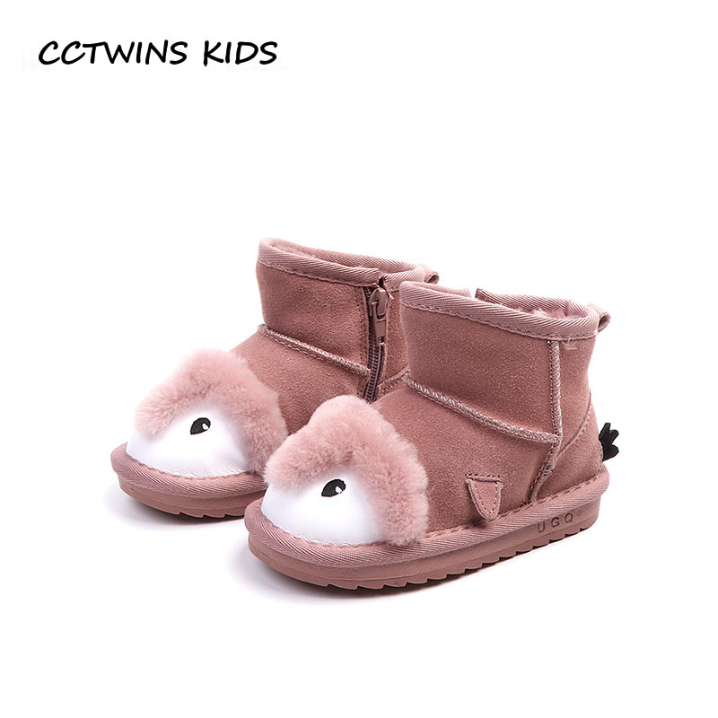 CCTWINS KIDS 2018 Winter Toddler Genuine Leather Shoe Baby Boy Brand Warm Ankle Boot Girl Fashion Anow Boot Children CS1556