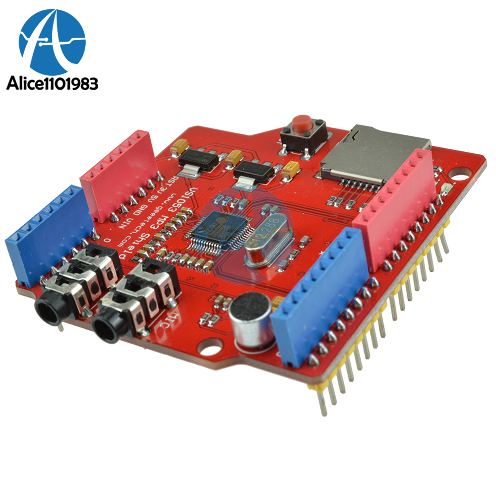 NEW VS1053B MP3 Music Shield Board Module with TF Card Slot For Arduino UNO R3 OGG Microphone Line-in <font><b>AMS1117</b></font> DC <font><b>5V</b></font> TF Card Slot image