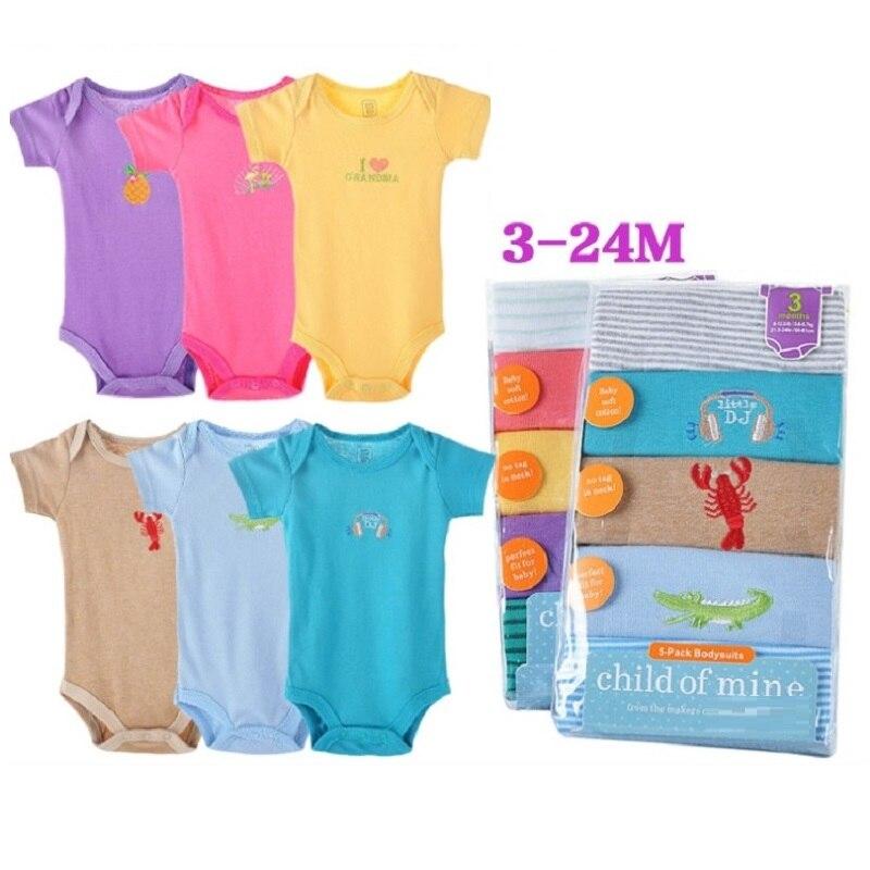 Hooyi bebé monos con manga corta 100% algodón cuerpo bebe mono ropa de bebé meses bebé niña bodysuits verano-in Bodis from Madre y niños on AliExpress