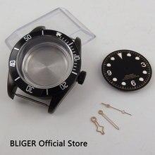 Сапфировое стекло 41 мм черный вращающийся ободок PVD покрытие корпуса часов+ Dial+ руки подходит для приблизительный срок поставки: 2836 автоматический механизм C122