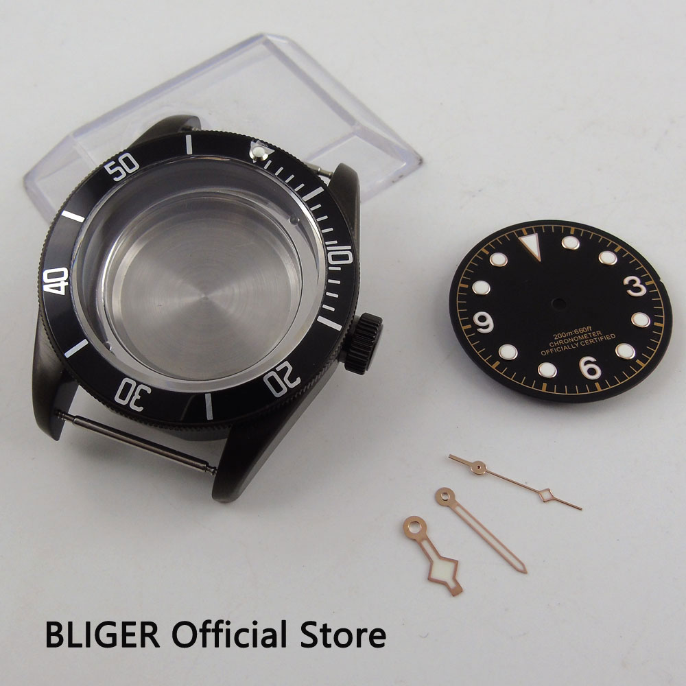 Sapphire Crystal 41MM Black Rotating Bezel PVD Coated Watch Case+Dial+Hands Fit For ETA 2824 2836 Automatic Movement C122 watch parts 41mm watches case for wristwatch black pvd coated cases fit for eta 2836 2824 automatic movement ca2010cap