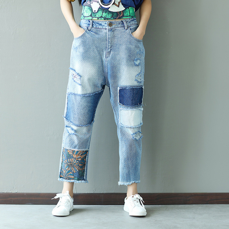 Spring Women's Clothing Loose Denim Pants  Plus Size Broken Hole Female Leisure Pants Women  Jeans Fashion Embroidered Trousers