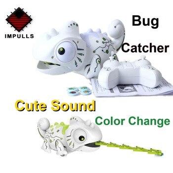 Robot dinosaurio RC de 2,4 pulgadas, juguete para mascota camaleón, Kit de juguetes de Robot inteligente con luz cambiable y Control remoto, Animal electrónico en miniatura