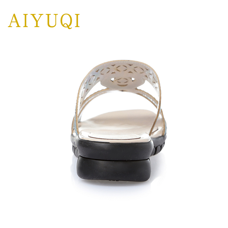 AIYUQI Plus size 41 42 43 outer wear genuine leather women slippers 2019 summer slippers new casual flat shoes women 39 s shoes in Slippers from Shoes