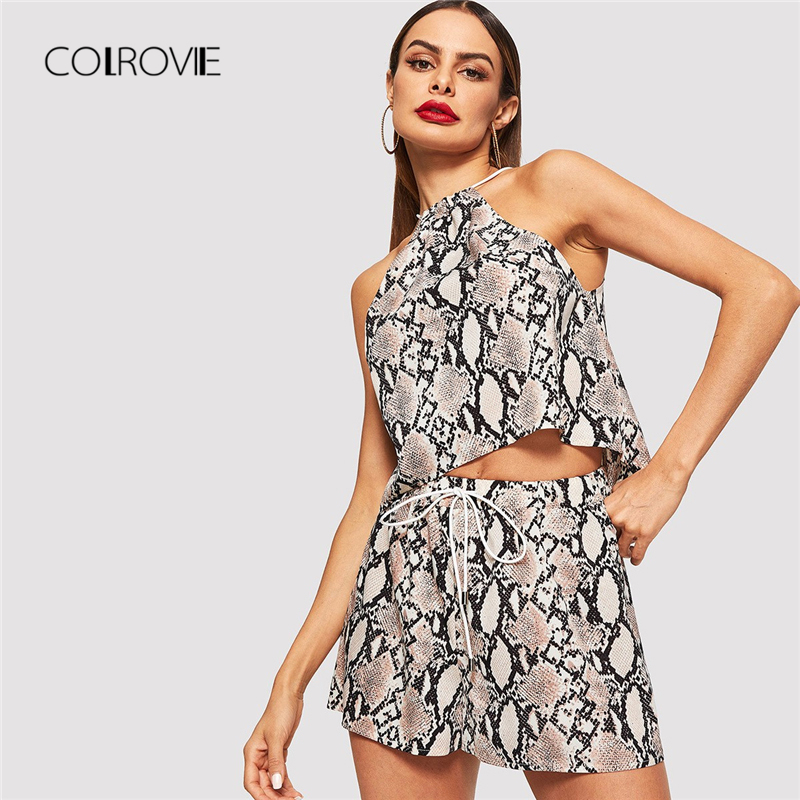 COLROVIE Animal Snake Skin Print Streetwear Top and Shorts Suit Set Women  Clothing 2018 Sleeveless Korean Sexy Two Piece Set-in Women s Sets from  Women s ... 01b444b41bcd