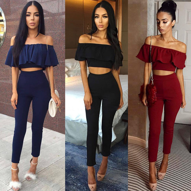 2017 Hot Casual Women Suits Sexy Two Piece Outfits Girls Fashion