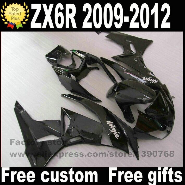 Plastic Fairing kit for Kawasaki ZX6R 2009 - 2012 Ninja  all glossy black fairings bodywork set ZX-6R 09 10 11 12 ZQ64