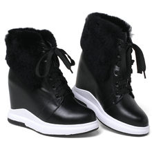 2019 Winter Warm Shoes Women Genuine Leather Wedges High Heel Ankle Boots Rabbit Fur Platform Pumps Round Toe High Top Trainers winter autumn fur metal chain high platform casual shoes outdoor genuine leather suede woman short ankle boots round toe shoes