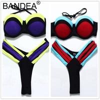 BANDEA Swimwear Women 2017 Bikinis Swimwear Women Push Up Halter Bikini Women Multicolor Swimsuit Sexy Bikini