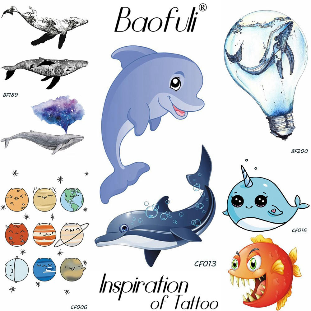 Cartoon Animals Temporary Tattoo Waterproof Blue Whale Fake Tatoos Children Christmas Gifts Body Art 3D Dolphin Tattoo Stickers