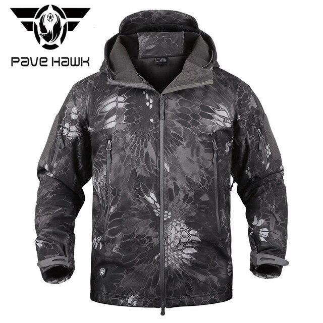 fe2b8ed4689 MANDRA Night Camo V5 Soft Shell Tactical Military Jacket Men Waterproof  Winter Fleece Coat Army Clothes