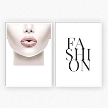 Cuadros Decoration Salon Pink Lips Woman Posters and Prints Canvas Painting Letter Wall Art Print Pictures For Living Room