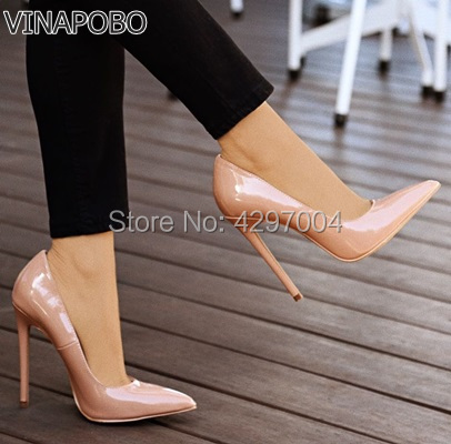2018 HOT Women Shoes Pointed Toe Pumps Patent Leather Dress High Heels Boat Shoes Wedding Shoes