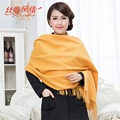 Top Sale Yellow Winter Women's Cashmere Shawl Scarf Thick Warm Wrap Long Tassels Solid Color Wrap Free Shipping