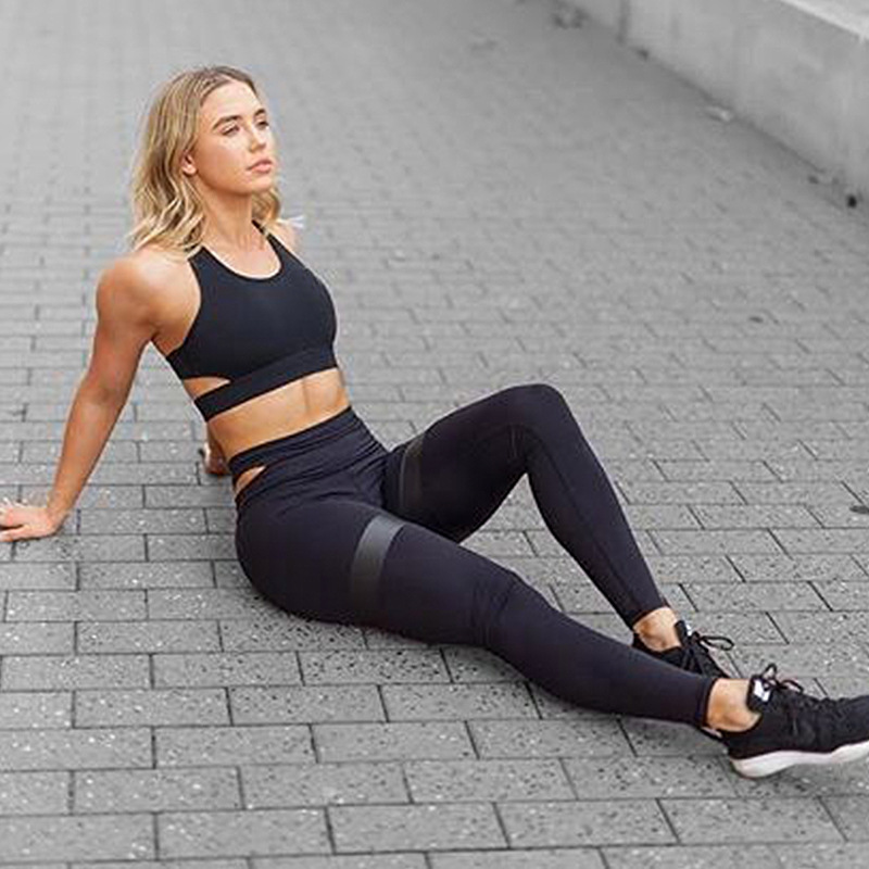 Women Fitness Clothing suit Breathable Yoga Set Running Yoga Pants +Top Two Piece Suit Black leggings Sport Clothes for Women