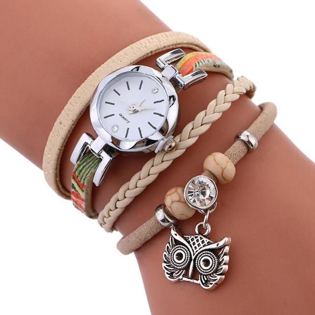 MINHIN Brand Women Casual Wristwatches Leather Braided Owl Pendant Handmade Brac